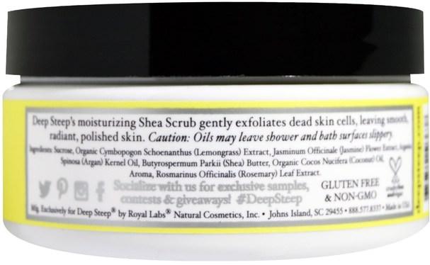 健康 - Deep Steep, Shea Scrub Sugar Scrub, Lemongrass, 8 oz (226 g)