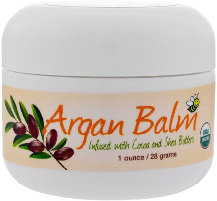 Argan Balm with Cocoa & Shea Butter, Superior to Petroleum Jelly, 1 oz (28 g) by Sierra Bees, 沐浴,美容,摩洛哥堅果,山脈蜜蜂護膚霜,摩洛哥堅果乳液和黃油 HK 香港