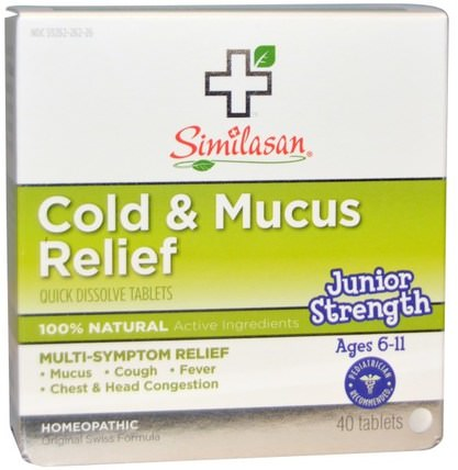 Cold & Mucus Relief, Junior Strength, 40 Quick Dissolve Tablets by Similasan, 補品,順勢療法,感冒感冒咳嗽 HK 香港