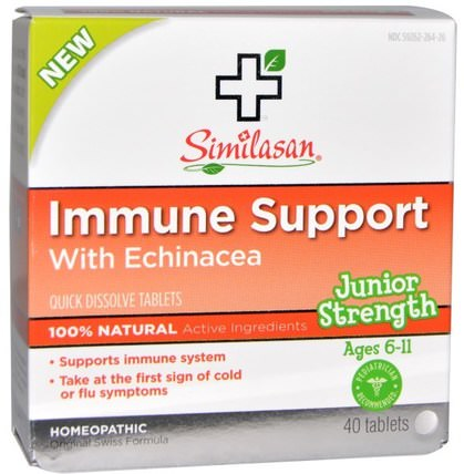 Immune Support with Echinacea, Junior Strength, 40 Quick Dissolve Tablets by Similasan, 補品,順勢療法,感冒感冒咳嗽 HK 香港