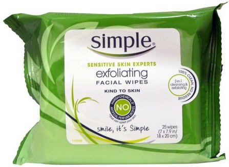Exfoliating Facial Wipes, 25 Wipes by Simple Skincare, 美容,面部護理,面部濕巾 HK 香港