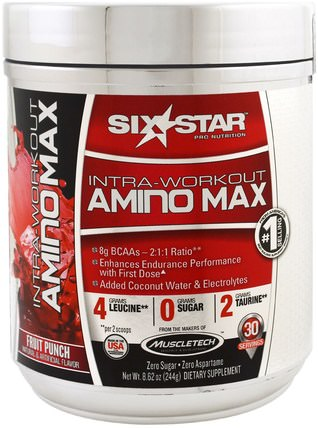Intra-Workout Amino Max, Fruit Punch, 8.62 oz (244 g) by Six Star, 運動,補品,bcaa(支鏈氨基酸) HK 香港