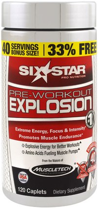 Pre-Workout Explosion, 120 Caplets by Six Star, 健康,能量,運動 HK 香港