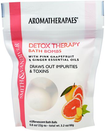 Detox Therapy Bath Bombs with Pink Grapefruit & Ginger Essential Oils, 4 Effervescent Bath Balls, 0.8 oz (22 g) Each by Smith & Vandiver, 洗澡,美容,健康 HK 香港