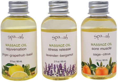 Spa.ah, Massage Oils Sampler, 3 Piece Set, 2 fl oz (60 ml) Each by Smith & Vandiver, 健康,皮膚,按摩油,沐浴,美容,禮品套裝 HK 香港