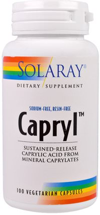 Capryl, Sustained-Release, 100 Veggie Caps by Solaray, 補充劑,辛酸 HK 香港