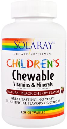 Childrens Chewable Vitamins and Minerals, Natural Black Cherry Flavor, 120 Chewables by Solaray, 維生素,多種維生素,兒童多種維生素 HK 香港