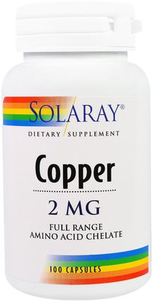 Copper, 2 mg, 100 Capsules by Solaray, 補品,礦物質,銅 HK 香港