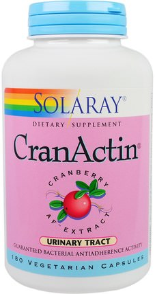 CranActin, Cranberry AF Extract, 180 Vegetarian Capsules by Solaray, 草藥,蔓越莓 HK 香港