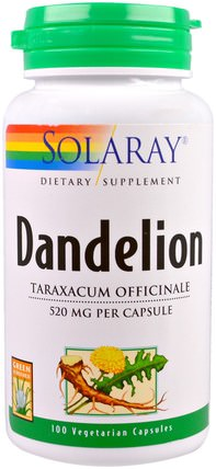 Dandelion, 520 mg, 100 Veggie Caps by Solaray, 草藥,蒲公英根 HK 香港