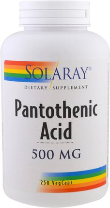 Pantothenic Acid, 500 mg, 250 Veggie Caps by Solaray, 維生素,維生素b HK 香港