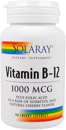 Vitamin B-12, 1000 mcg, 90 Cherry Lozenges by Solaray, 維生素,維生素b,維生素b12 HK 香港
