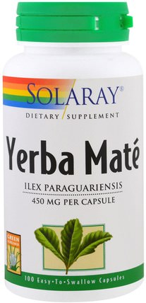 Yerba Mate, 450 mg, 100 Easy to Swallow Capsules by Solaray, 食物,涼茶,馬黛茶,草藥 HK 香港