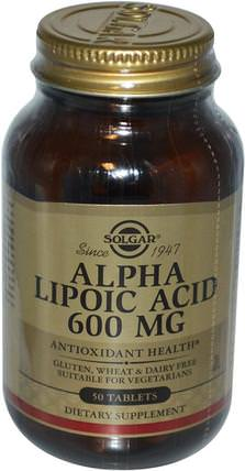 Alpha Lipoic Acid, 600 mg, 50 Tablets by Solgar, 補充劑,抗氧化劑,α硫辛酸,α硫辛酸600毫克 HK 香港