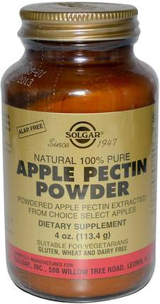 Apple Pectin Powder, 4 oz (113.4 g) by Solgar, 補充劑,纖維,蘋果果膠 HK 香港