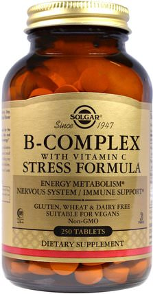 B-Complex with Vitamin C Stress Formula, 250 Tablets by Solgar, 維生素,維生素B複合物,健康,抗壓力 HK 香港