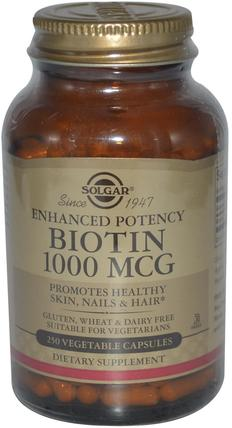 Biotin, 1000 mcg, 250 Vegetable Capsules by Solgar, 維生素,維生素B,生物素 HK 香港