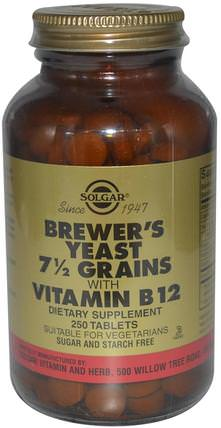 Brewers Yeast, 7 1/2 Grains, with Vitamin B12, 250 Tablets by Solgar, 補充劑,啤酒酵母補充劑 HK 香港