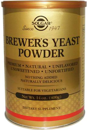 Brewers Yeast Powder, 14 oz (400 g) by Solgar, 食品,烘焙助劑,啤酒酵母 HK 香港