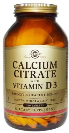 Calcium Citrate with Vitamin D3, 240 Tablets by Solgar, 補品,礦物質,檸檬酸鈣 HK 香港