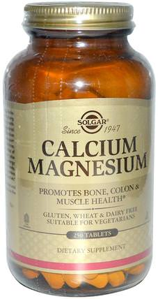 Calcium Magnesium, 250 Tablets by Solgar, 補充劑,礦物質,鈣和鎂 HK 香港