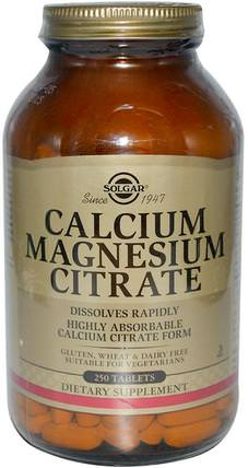 Calcium Magnesium Citrate, 250 Tablets by Solgar, 補充劑,礦物質,檸檬酸鎂 HK 香港