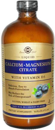 Calcium Magnesium Citrate, with Vitamin D3, Liquid, Natural Blueberry Flavor, 16 fl oz (473 ml) by Solgar, 補品,礦物質,鈣 HK 香港