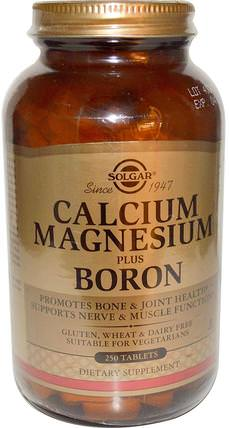 Calcium Magnesium Plus Boron, 250 Tablets by Solgar, 補品,礦物質,鈣,健康,骨骼 HK 香港