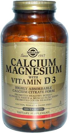 Calcium Magnesium with Vitamin D3, 300 Tablets by Solgar, 補品,礦物質,鈣 HK 香港