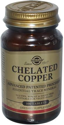 Chelated Copper, 100 Tablets by Solgar, 補品,礦物質,銅 HK 香港