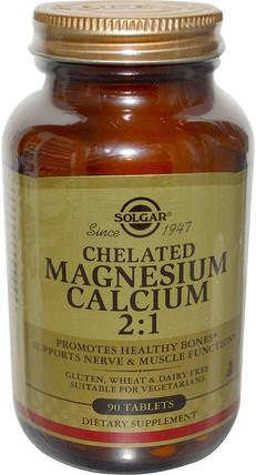 Chelated Magnesium Calcium 2:1, 90 Tablets by Solgar, 補充劑,礦物質,鈣和鎂 HK 香港