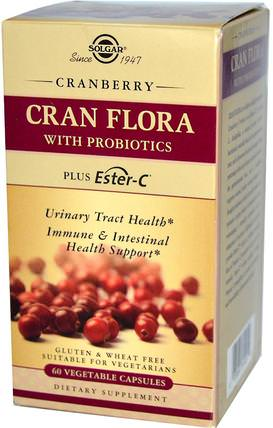 Cran Flora, with Probiotics, 60 Vegetable Capsules by Solgar, 草藥,蔓越莓 HK 香港