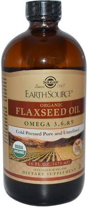 Earth Source, Organic Flaxseed Oil, 16 fl oz (473 ml) by Solgar, 補充劑,efa omega 3 6 9(epa dha),亞麻油液體 HK 香港
