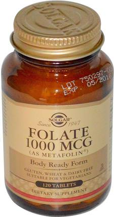 Folate, As Metafolin, 1000 mcg, 120 Tablets by Solgar, 維生素,葉酸,5-mthf葉酸(5甲基四氫葉酸) HK 香港