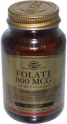 Folate, As Metafolin, 800 mcg, 100 Tablets by Solgar, 維生素,葉酸,5-mthf葉酸(5甲基四氫葉酸) HK 香港