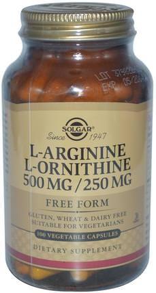 Solgar, L-Arginine, L-Ornithine, 500 mg/250 mg, 100 Vegetable Capsules 補充劑,氨基酸,精氨酸,精氨酸+ l鳥氨酸