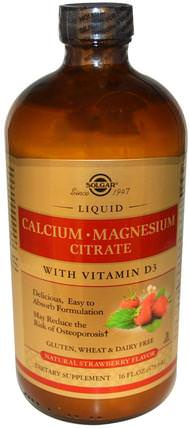 Calcium Magnesium Citrate, with Vitamin D3, Liquid, Natural Strawberry Flavor, 16 fl oz (473 ml) by Solgar, 補品,礦物質,鈣 HK 香港