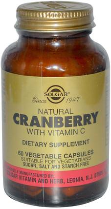 Natural Cranberry, with Vitamin C, 60 Vegetable Capsules by Solgar, 草藥,蔓越莓 HK 香港