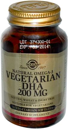 Natural Omega-3, Vegetarian DHA, 200 mg, 50 Vegetarian Softgels by Solgar, 補充劑,efa omega 3 6 9(epa dha),dha neuromins HK 香港