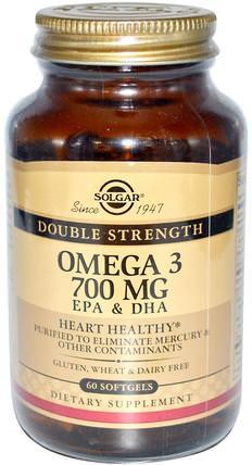 Omega-3, 700 mg, EPA & DHA, 60 Softgels by Solgar, 補充劑,efa歐米茄3 6 9(epa dha),歐米茄369粒/標籤 HK 香港
