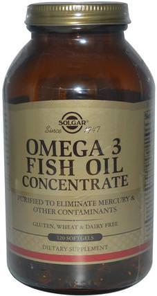Omega-3 Fish Oil Concentrate, 120 Softgels by Solgar, 補充劑,efa omega 3 6 9(epa dha),魚油,魚油軟膠囊 HK 香港