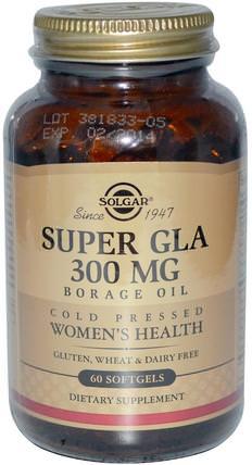Super GLA, Borage Oil, Womens Health, 300 mg, 60 Softgels by Solgar, 補充劑,efa omega 3 6 9(epa dha) HK 香港