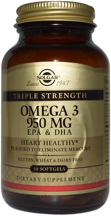 Triple Strength Omega-3, 950 mg, EPA & DHA, 50 Softgels by Solgar, 補充劑,efa歐米茄3 6 9(epa dha),歐米茄369粒/標籤 HK 香港