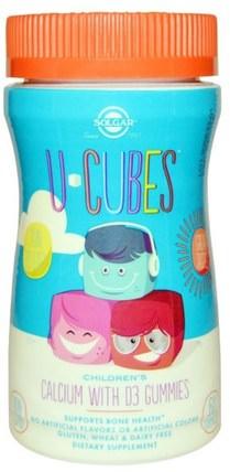 U Cubes, Childrens Calcium With D3 Gummies, 60 Gummies by Solgar, 補充劑,礦物質,鈣,咀嚼鈣,兒童健康,兒童補品 HK 香港