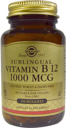 Sublingual Vitamin B12, 1000 mcg, 250 Nuggets by Solgar, 維生素,維生素b HK 香港