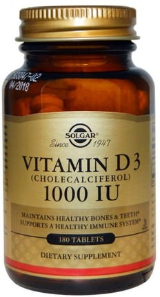 Vitamin D3 (Cholecalciferol), 1000 IU, 180 Tablets by Solgar, 維生素,維生素D3 HK 香港