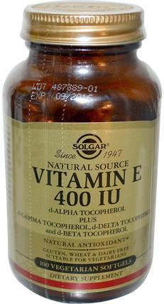 Natural Vitamin E, 400 IU, d-Alpha Tocopherol & Mixed Tocopherols, 100 Vegetarian Softgels by Solgar, 維生素,維生素e HK 香港