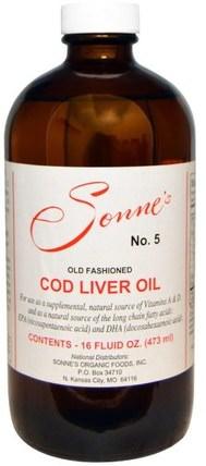 No. 5, Old Fashioned Cod Liver Oil, 16 fl oz (473 ml) by Sonnes, 補充劑,efa omega 3 6 9(epa dha),魚肝油,魚肝油液 HK 香港