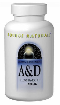 A & D, 10.000 IU/400 IU, 250 Tablets by Source Naturals, 維生素,維生素a和d HK 香港
