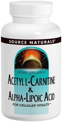 Acetyl L-Carnitine & Alpha-Lipoic Acid, 650 mg, 120 Tablets by Source Naturals, 補充劑,抗氧化劑,α硫辛酸 HK 香港
